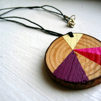 BERRIES & CREAM--geometric wooden necklace, geometric wood necklace jewelry, wooden necklace pendant, painted wooden, chunky wood necklace