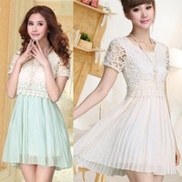 New Womens Korea Fashion Short Sleeve Hollow Pleated Hem Chiffon Dress E816