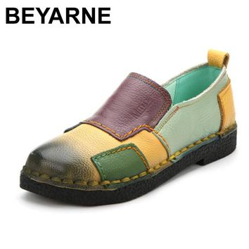 Handmade vintage women's shoes genuine leather female moccasins loafers soft slip-resistant color block casual shoes flats