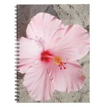 Pink Hibiscus Flower Spiral Photo Notebook