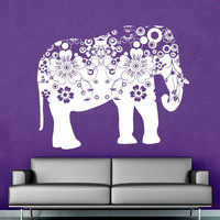 Wall Decal Vinyl Sticker Decals Art Decor Design Mural Ganesh Om Elephant Flower Mandala Tribal Buddha Karma India Bedroom Dorm (r678)