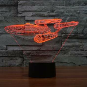 STAR TREK ENTERPRISE WARSHIP 3D Lamp 8 Changeable Color [FREE SHIPPING]