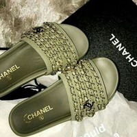 Chanel Fashion Women Casual Slippers Shoe Sandals Army Green I
