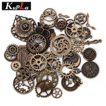 Vintage Metal Steampunk Charms Diy Fashion Accessories Clock & Gear Pendant Charms for Jewelry Making 40 pieces/lot