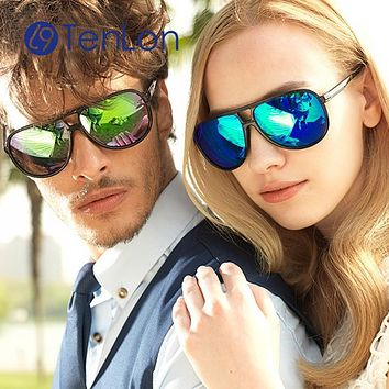 TenLon Glasses Basic frog style double bridge Sunglasses men eyeglasses with coating lens oculos de sol feminino anti uv400