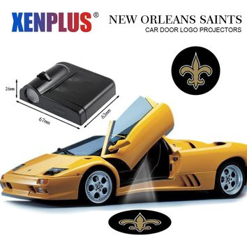 2pcs Car Welcome Lights for New Orleans Saints Door Lamp Projector Logo NFL Auto Interior Lamp for Buick Lincoln Chevrolet OPEL