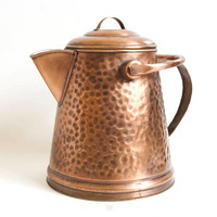 Vintage LARGE Copper Coffee Pot, Gregorian Hammered Copper Kettle with Bale Handle Teapot Watering Can (Decorative)