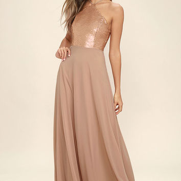 The Best Part Matte Gold Sequin Maxi Dress