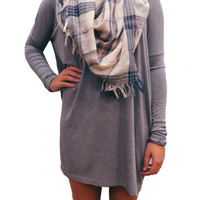 Dark Heather Grey Longsleeve Piko Dress