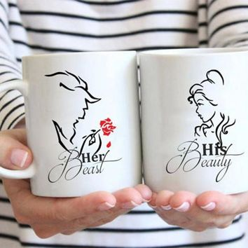 His Beauty - Her Beast mugs set, Beauty and the beast gifts, coffee mug, tea mug,Disney gifts, collector gift, funny mugs, coupl