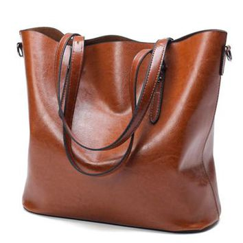 "Women's Trending Oil Wax Synthetic ""SOFT"" Leather Shoulder Hand Bag /Tote"