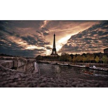 Paris Eiffel Tower poster Metal Sign Wall Art 8in x 12in
