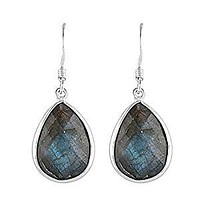 Sterling Silver Pear Faceted Labradorite French Wire Earrings