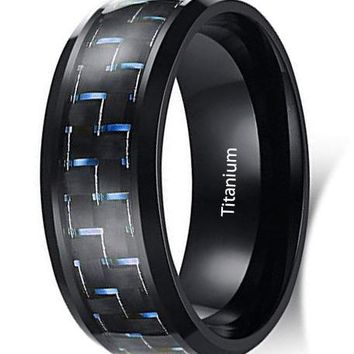 CERTIFIED 8mm Men's Stainless Steel Carbon Fiber Inlay Ring for Promise Gift