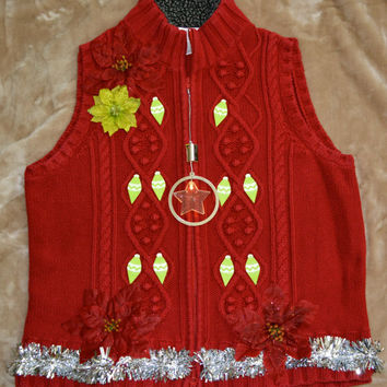 Light up Ugly Christmas Sweater Vest, with ornaments