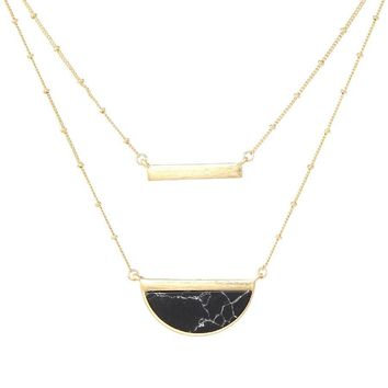 Black Howlite Moon Layer Necklace
