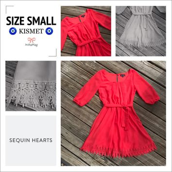 SEQUIN HEARTS Women's Size S Coral Lace Lined Dress