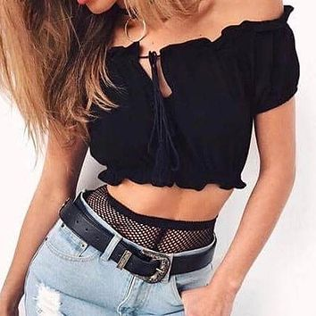 Off Shoulder Lace Up Red Ruffles Short Tops Sexy Party Backless Crop Shirts Blouses Night Black Top Blusa