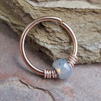 16g 18g or 20 Gauge Rose Gold Beaded Opal Nose Hoop Ring or Cartilage Hoop Earring