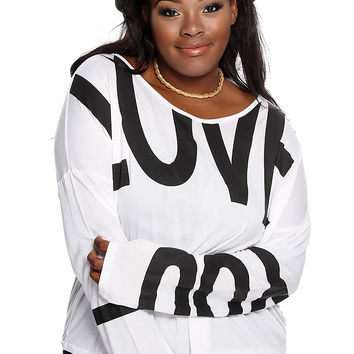 White LOVE Print Long Sleeves Casual Plus Size Top