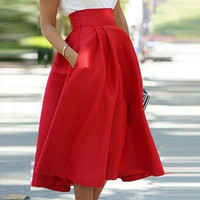 High Waist Cocktail Long Skirt