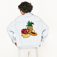 DENIM JACKET WITH FRUIT EMBROIDERY DETAILS