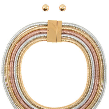 "19"" mult coil cord metallic 5 layered collar choker necklace .35"" earrings"