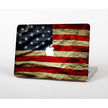 "The Dark Wrinkled American Flag Skin Set for the Apple MacBook Pro 13"" with Retina Display"