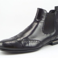 PRADA sz 7 LEATHER WINGTIP CHELSEA BOOTS 2TA014 MENS BLACK fits US 8 $695
