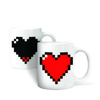 Best Sale Special Offer Magic Ceramic Coffee Tea Milk Hot Cold Heat Sensitive Color-Changing Mug Cup Pixel Heart Lovely Gift