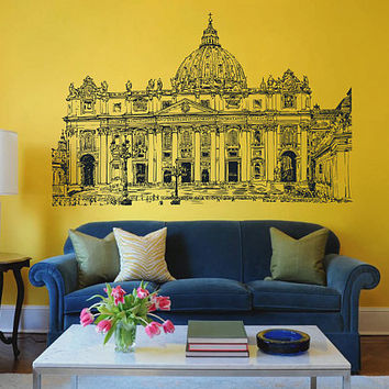 Vatican Skyline Wall Decals Vatican Wall Decals Italy wall decals Cityscape Vatican Wall Decals kik2417