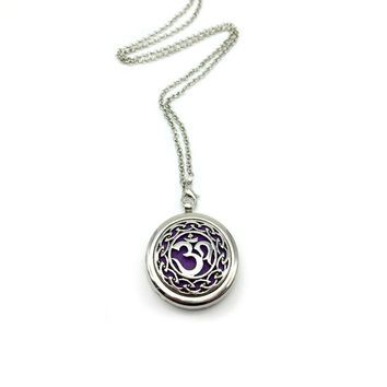 10pcs Aum Om Aromatherapy Necklace Diffuser Pendant  Floating Charm For Memory Lockets Jewelry Women Gift Find Your Peace BXG-05 Antique Silver