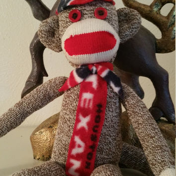 Houston Texan Stuff Sock Monkey, Houston Texan Redford Red Sock Monkey, Houston Texan Stuff Monkey w/ Hat & Tie