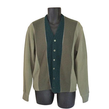 Mr Rogers Cardigan Mr Rogers Sweater 60s Men Sweater 1960s Men Cardigan Men Green Sweater Grandpa Cardigan Dark Green Sweater Olive Green