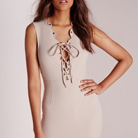 Missguided - Scallop Neck Lace up Bodycon Dress Stone