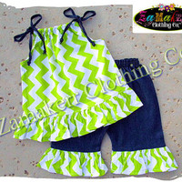 Custom Boutique Girl Clothing Lime Green Chevron Outfit Pant Set Halter Capri Short Birthday Baby Size 6 9 12 18 24 month 2t 3t 4t 5t 6 7 8