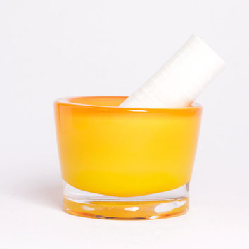 Blown glass and ceramic mortar/pestle - Pilon/mortier en verre soufflé et céramique