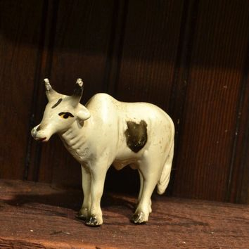 Cow Bull Toy Figurine - Antique Painted Pot Metal - Early Toy - Brahma