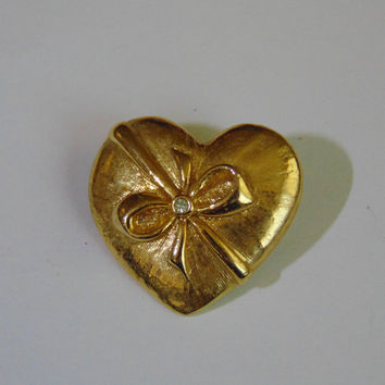 Vintage Gold Heart with bow and Faux Diamond in center Brooch Pin Lapel