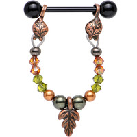 14 Gauge Autumn Dangle Nipple Barbell Created with Swarovski Crystals | Body Candy Body Jewelry