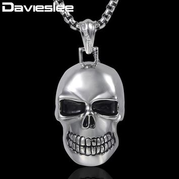 Davieslee Mens Pendant Necklace Gothic Punk Silver Color Skull Charm 316L Stainless Steel Chain DHP154
