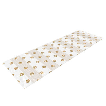 "Pellerina Design ""Linen Polka Stripes"" Gold Dots Yoga Mat"