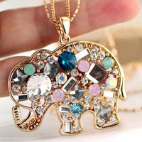 Crystal rhinestone colorful The elephant  statement necklace * pendant for women fashion jewelry