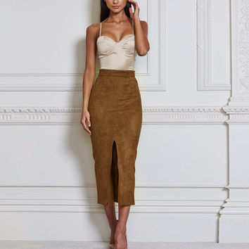 Tan High Waisted Slit Faux Suede Midi Skirt