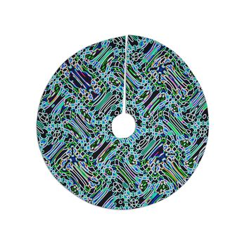 "Dawid  Roc ""Camouflage Pattern"" Teal Mixed Media Tree Skirt"