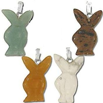 Handcarved Bunny Stone Pendant  assorted Stones  Sold by Piece