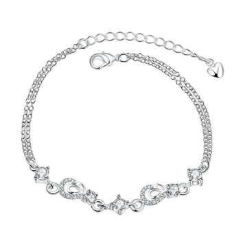Crystal Jewels Hollow Hearts Petite Anklet