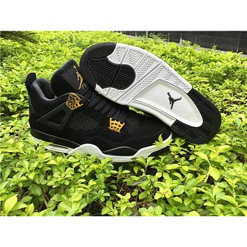 Air Jordan 4 Men Basketball Shoes Black Metallic royalty Gold White Athletic Suede 4s IV High Quality Sports Sneakers