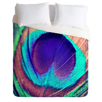Shannon Clark Pretty Peacock Duvet Cover
