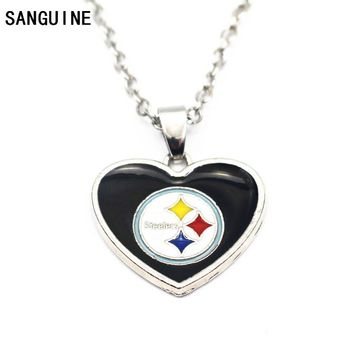 1pcs Silver Enamel Heart Pittsburgh Steelers Football Pendant Necklace With 50cm Chains Necklace For Women Necklace Jewelry